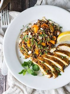 Moroccan baked chicken breast and quinoa salad. Get this delicious recipe and more quick and easy baked chicken recipes here. #bakedchicken #chickendinners #chickenrecipes #chicken #healthyrecipes #recipes #dinnerrecipes #easydinners
