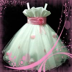 Flower Girl Dress!!!!! Pink Wedding Party Flower Girl Tulle Dress SZ Age 2-10Y