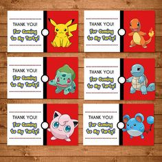 Pokemon Goody Bag Tags Red & White Pokemon by NineLivesNotEnough