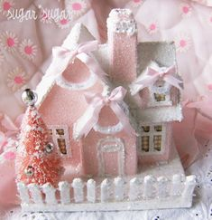 Sweet Pink Glitter Christmas Cottage Idea