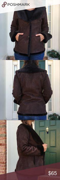 """❗️1-DAY SALE❗️Calvin Klein  Faux Fur Lined Coat Calvin Klein Brown Faux Shearling Fur Lined Coat. Excellent condition. Runs big. Measurements pit to pit 20""""/ length 28"""" Calvin Klein Jackets & Coats"""