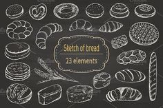 Sketch of bread and pastries. Graphics Sketch of bread, hand-drawn.In this set you get 23 different elements of bread (23 individual PNG) by Natali_art