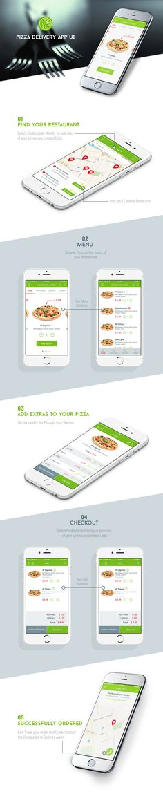 Buy Pizza/Food Delivery UI by Mokey_Arts on GraphicRiver. If you are looking for a nice modern and sleek food delivery app UI which you can modify as you wish or simply start . Ios App Design, Web Design, Mobile Ui Design, Pizza Delivery App, Delivery Food, Restaurant App, Mobiles, App Design Inspiration, Application Design