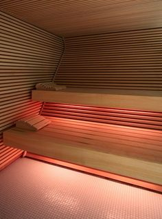 Spa sauna at the Das Stue Hotel in Berlin by Patricia Urquiola _ Patricia Urquiola, Saunas, Sauna Steam Room, Sauna Room, Spa Luxe, Luxury Spa, Design Sauna, Best Infrared Sauna, Sauna Lights