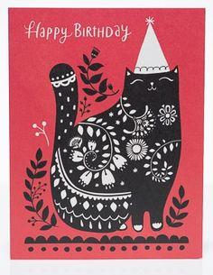 Black Cat Birthday   Red Cap Cards