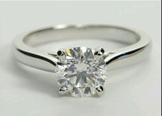 Wedding rings: 1 Ct Round Cut Solitaire Ring In 14K White Gold BUY IT NOW ONLY: $185.0