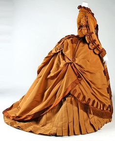 Dress Depret  (French) Date: 1867–71 Culture: French Medium: silk Dimensions: Length at CB (a): 21 in. (53.3 cm) Length at CB (b): 60 in. (152.4 cm) Credit Line: Gift of Miss Elizabeth R. Hooker, 1962