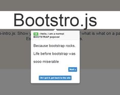 Bootstro.js – jQuery Plugin for Guided Tour on Page #jQuery #bootstrap #tour #guide #popover #javascript