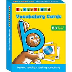 These big, double sided cards help children to quickly develop vocabulary for reading and spelling. Use them to present each letter's alliterative words plus rhyming words.