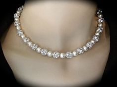 Pearl necklace Chunky Bridal jewelry Large by QueenMeJewelryLLC