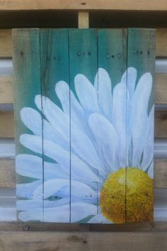 Delicious Daisy, 16.5x23.5in approx.Original Acrylic hand painting on Reclaimed Poplar wood with Turquoise wash. Wood pallet wall art sign