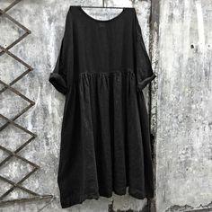 Sarah Black Linen Dress