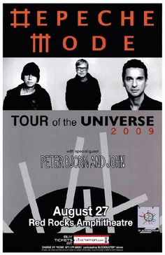 Concert poster for Depeche Mode at Red Rocks Amphitheater in Morrison, CO in 2009. 11 x 17 on card stock.