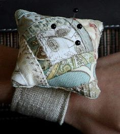 Pretty little pin cushion to make - The Dixie Chicken Quilts: Crazy Quilted Wrist Pincushion Tutorial