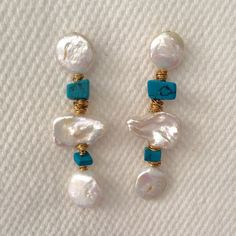 "CASS DICKSON. TURQUOISE & PEARL TRIPLE DROP EARRINGS Gorgeous with an evening dress or with jeans & a t-shirt, these 3"" pearl…"