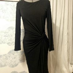 """Golbary Stretch Dress Slip into Elegance in this Knee Length dress again I am 5""""1 :) Beautiful on, Wore Once , Thick Material great for fall and winter. Gold Zipper On back Golbary Dresses Long Sleeve"""