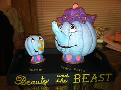 Mrs. Potts and Chip from Beauty and the Beast....pumpkins for school contest!!!