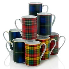 These are the types of tartan porcelain cups that Fiona so admired when visiting the gift shop at the Old Weaving Mill in Edinburgh. I bought two myself: Royal Stewart and Gordon and drink tea from them every day around 4 o'clock...