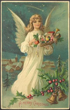 Vintage Christmas Angels | ... Embossed Christmas Angel Theme Vintage Antique Postcard Postmarked11