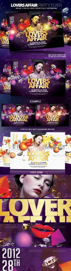 "Lovers Affair Party Flyer Model image not include with download folder. Features:Include 2 psd files Fully Customizable 6x4"" 1875x1275px Bleeds.25"" 300DPI CMYK Fully layers. Well Organized. Guide lines. Print Ready. Font used http://www.dafont.com/steelfish.font http://www.fontsquirrel.com/fonts/open-sans http://www.dafont.com/enigmatic.font In c"