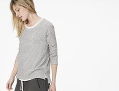 James Perse Mini Stripe Raglan Pullover on shopstyle.com