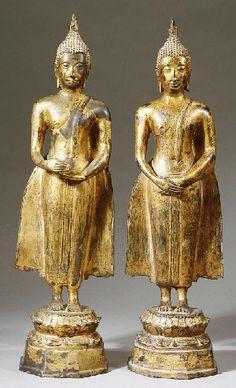 a pair of thai, ayutthaya style, bronze figures of buddha shakyamuni CIRCA 19TH CENTURY
