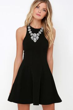 Flare Grounds Black Dress at Lulus.com!