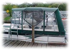Here's our Pontoon Boat Half Enclosure...we can camp on the lake