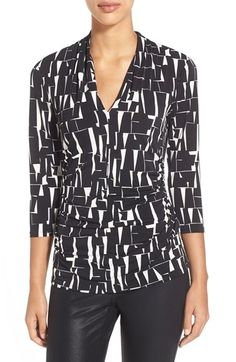 Vince Camuto Ruched Print V-Neck Top available at #Nordstrom