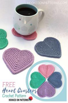 FREE PATTERN ALERT Crochet these super easy heart shaped coasters with my Free crochet pattern at Hooked On Patterns A simple yet perfect heart design made in just 6 roun. Crochet Coaster Pattern, Easy Crochet Patterns, Crochet Motif, Crochet Designs, Crochet Flowers, Knitting Patterns, Crochet Hearts, Doily Patterns, Yarn Projects