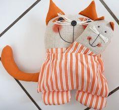 doudou maman chat avec son bébé en coton rayé blanc/orange : Jeux, jouets par tendance-slave