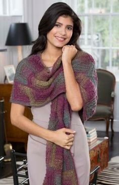 Knit Mitered Shawl Free Pattern from Red Heart Yarns