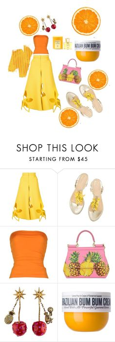 """""""Untitled #119"""" by rosapinki ❤ liked on Polyvore featuring Rosie Assoulin, Plein Sud, Dolce&Gabbana, Gucci, Sol de Janeiro and Acqua di Parma"""