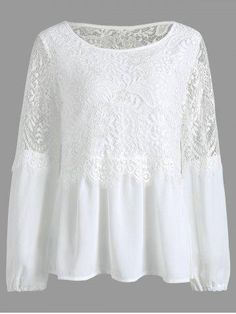 RoseGal.com - RoseGal Chiffon Lace Trim Long Sleeve Top - AdoreWe.com