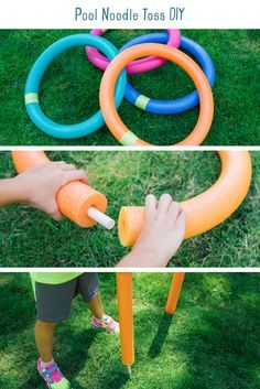 Pool Noodle Toss DIY. Transform the ordinary ring toss to a giant outdoor game. This activity is super quick to set up and perfect for entertaining kids and adults alike! It kept my high-energy boys entertained for hours, which was the perfect afternoon activity. All you need are a few pool noodles and wooden dowels to get started.