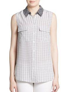 EQUIPMENT Slim Signature Silk Floral-Collar Plaid Shirt. #equipment #cloth #shirt