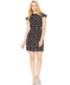 Maison Jules Flutter-Sleeve Pleated Floral-Print Dress - Dresses - Women - Macy's
