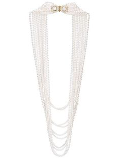 Shop Oscar de la Renta multi strand pearl necklace.