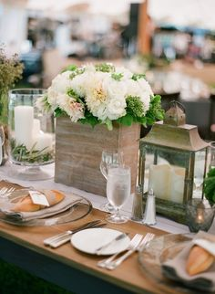 Love the rustic table decor for rehearsal dinner outdoors.
