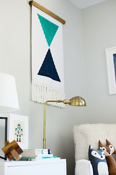 DIY woven wall hanging from bathmat