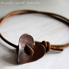 Copper heart button as bracelet closure #handmade #jewelry                                                                                                                                                      More