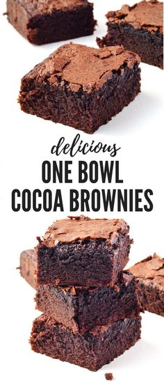 These One Bowl Cocoa Brownies are AMAZING! These big, thick fudgy brownies are S… These One Bowl Cocoa Brownies are AMAZING! These big, thick fudgy brownies are SO easy to throw together especially when you need a last minute dessert. Kakao Brownies, Cocoa Brownies, Nutella Brownies, Fudgy Brownies, One Bowl Brownies, Brownie Deserts, Cake Like Brownies, Baking Brownies, Cocoa Cake