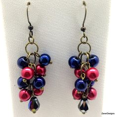 Red Pearls and Blue Glass Beads with Black by ZaverDesigns on Etsy