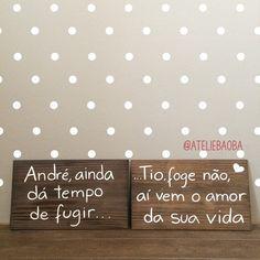 Plaquinhas para mais um #pajem engraçadinho e uma #daminha fofa ! #ateliebaoba…