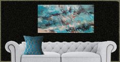 Abstract Painting Acrylic large 48 inches in blue black copper original signed one of a kind painting Jim Beard authenticated abstract by BeardArtStudios on Etsy Beard Art, Art Studios, Modern Contemporary, Love Seat, Mothers, Original Paintings, Copper, The Originals, Abstract