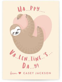 Slow Sloth Classroom Valentine's Day Cards