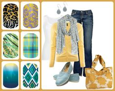 Greens and blues look great with this classy yellow casual set.  www.brandyjam.jamberrynails.net