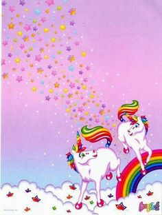 Unicorns, I had this Lisa Frank notebook all through high school.
