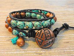 Turquoise Agate and Vintage Beads 2 Wrap Leather Bracelet   GemOnAWire - Jewelry on ArtFire