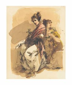 Giuseppe Bernardino Bison (Palmanova 1762-1844 Milan) | Two elegantly dressed ladies holding flowers | 19th Century, 18th Century | Christie's Holding Flowers, Vintage Drawing, Bison, 18th Century, Vintage World Maps, Watercolor, Drawings, Lady, Painting